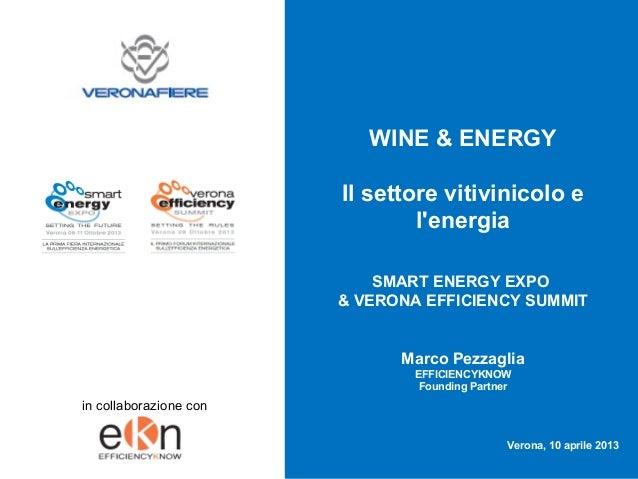Vinitaly 2013: Wine & Energy - Il Settore Vitivinicolo e l'energia