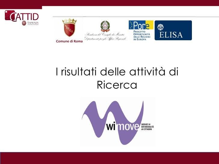 Wi-Move: risultati attività di ricerca