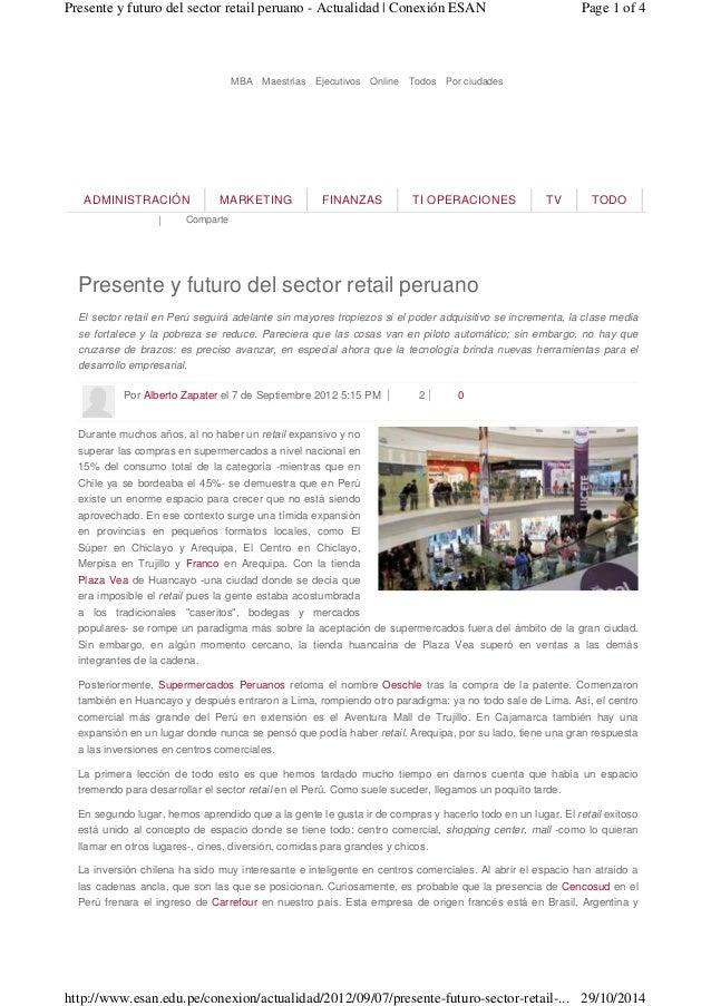 | Comparte ADMINISTRACIÓN MARKETING FINANZAS TI OPERACIONES TV TODO Presente y futuro del sector retail peruano El sector ...