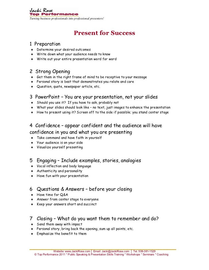Turning business professionals into professional presenters!                                   Present for Success1 Prepar...