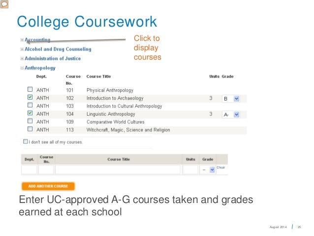 For UC applications, what can I put for non a-g coursework?