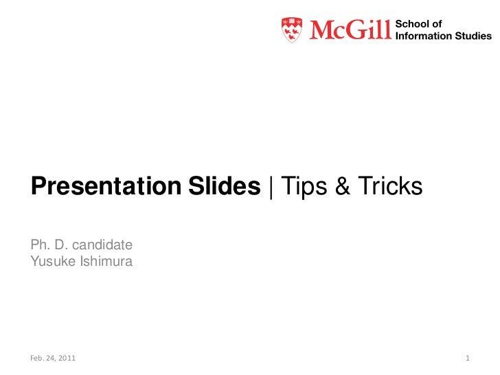 Presentation slides: Tips & tricks