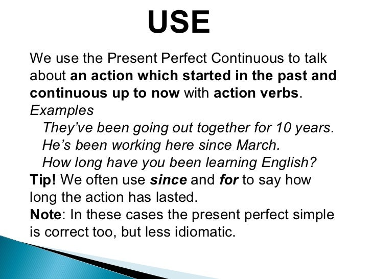 the present perfect continuous tense pdf