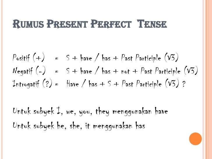 Present Perfect Formula Rumus Present Perfect