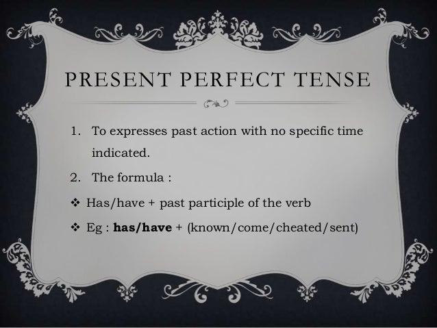 Present Perfect Formula Present Perfect Tense1