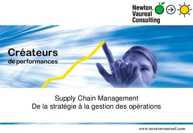 Supply Chain Management  De la stratégie à la gestion des opérations  Présentation générale NVC 2012 - Page 1  www.newtonv...
