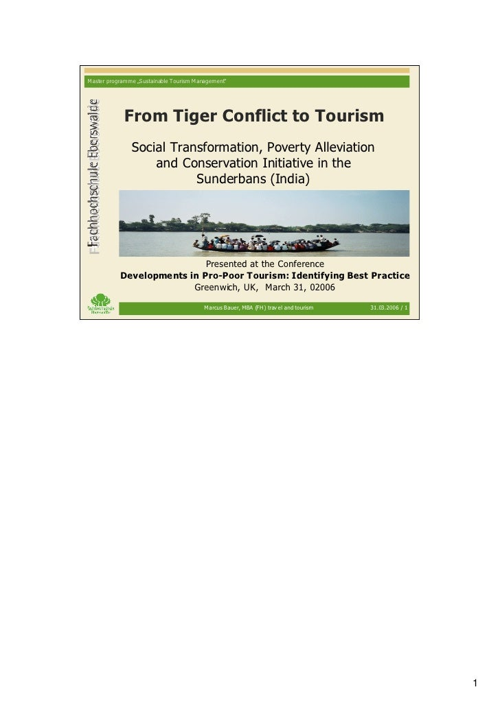 """M aster programme """"S ustainable Tourism M anagement""""                  From Tiger Conflict to Tourism                 Socia..."""