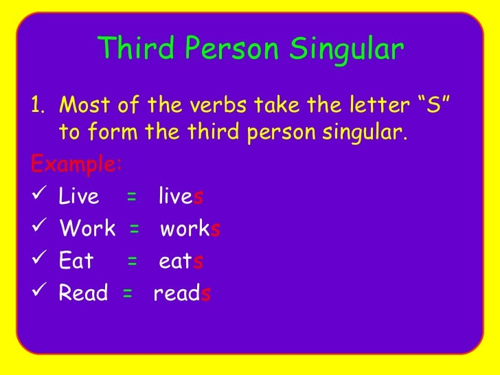 Present Simple Tense Rules Third Person Singular