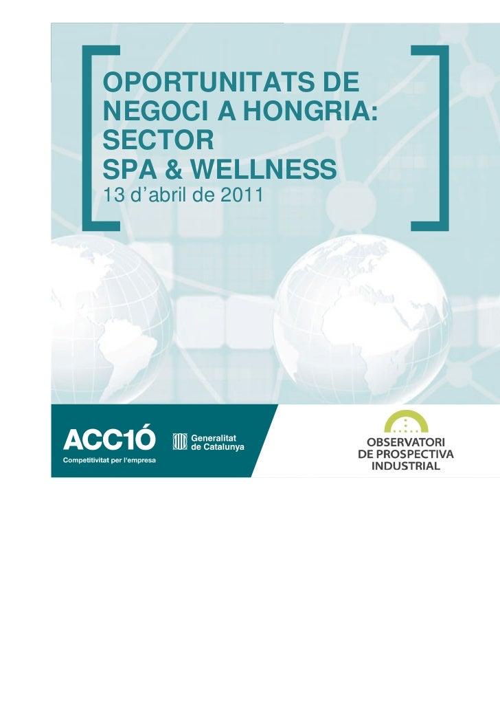 OPORTUNITATS DENEGOCI A HONGRIA:SECTORSPA & WELLNESS13 d'abril de 2011                     www.acc10.cat