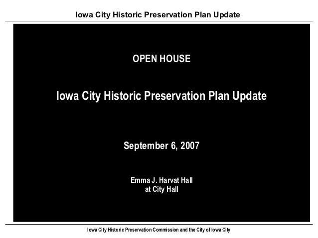 Iowa City Historic Preservation Plan Update                           OPEN HOUSEIowa City Historic Preservation Plan Updat...