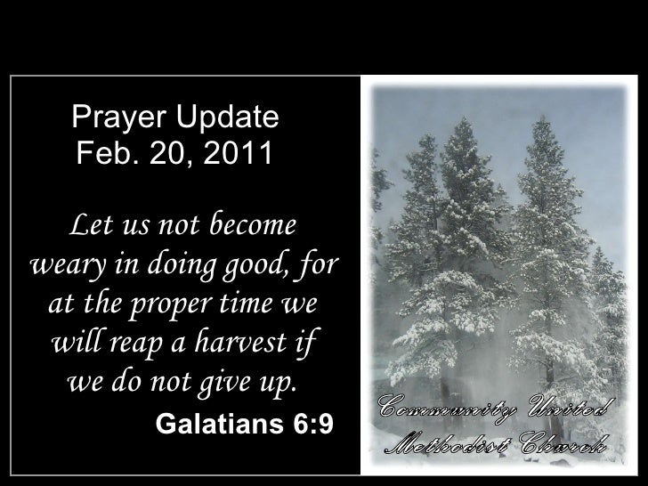 Prayer Update Feb. 20, 2011 <ul><li>Let us not become weary in doing good, for at the proper time we will reap a harvest i...