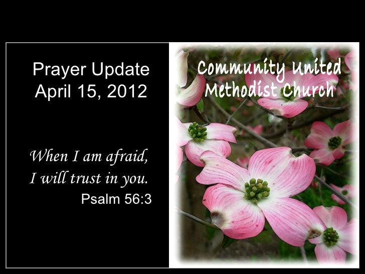 Prayer UpdateApril 15, 2012When I am afraid,I will trust in you.        Psalm 56:3