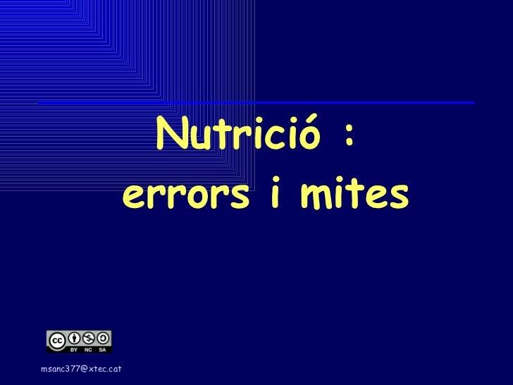 Nutrició esportiva:  errors i mites