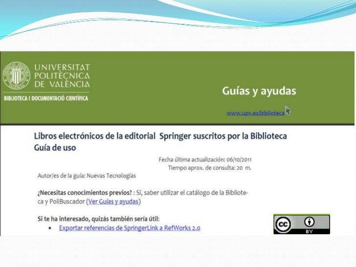 SpringerLink en la Universitat Politècnica de València