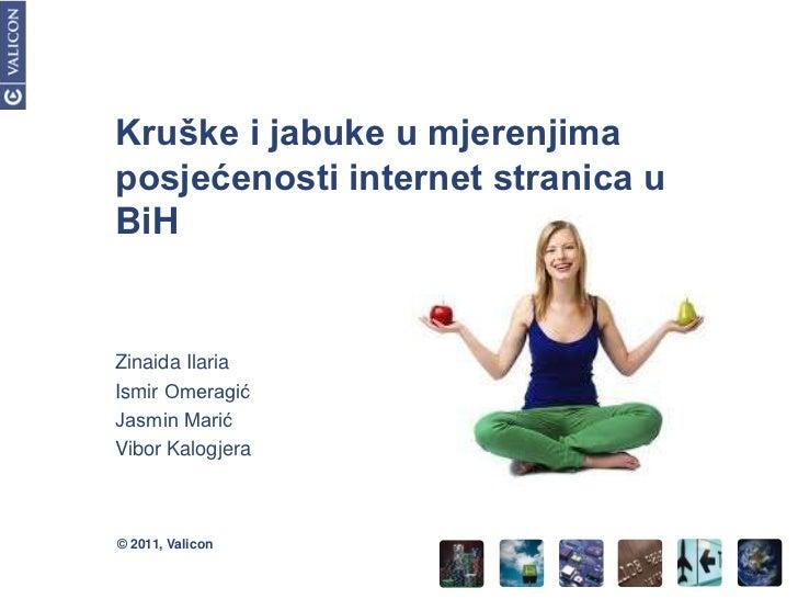 Kruške i jabuke u mjerenjimaposjećenosti internet stranica uBiHZinaida IlariaIsmir OmeragićJasmin MarićVibor Kalogjera© 20...
