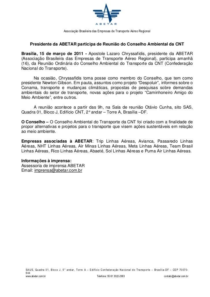 Associação Brasileira das Empresas de Transporte Aéreo Regional     Presidente da ABETAR participa de Reunião do Conselho ...