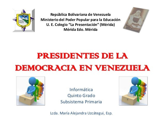 """República Bolivariana de Venezuela    Ministerio del Poder Popular para la Educación      U. E. Colegio """"La Presentación"""" ..."""