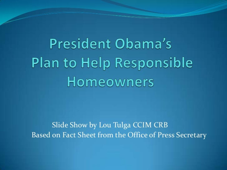 President obama's  foreclosure relief program outline 2012 lou tulga