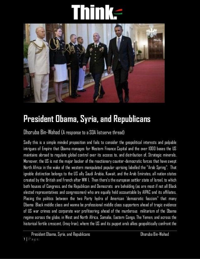 President Obama, Syria, And Republicans| Dhoruba Bin-Wahad Dhoruba Bin-Wahad (A response to a SOA listserve thread)