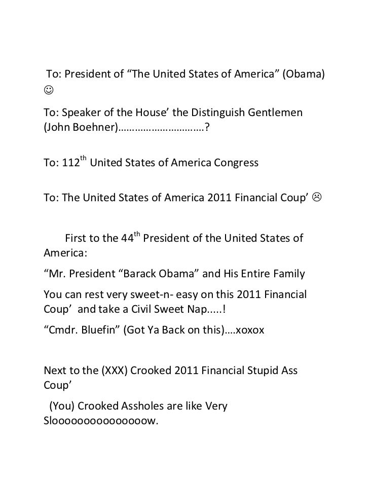President (obama) vs. united states of america 2011 financial coup'