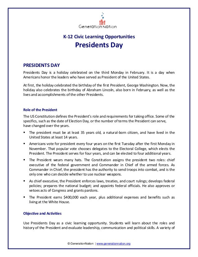 K‐12 Civic Learning Opportunities                                      Presidents Day    PRESIDENTS DAY  Presidents  Day  ...