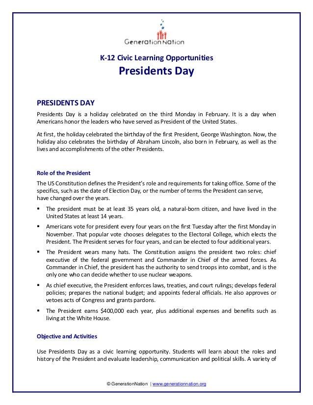 K‐12CivicLearningOpportunities                                     PresidentsDayPRESIDENTSDAYPresidents Day ...