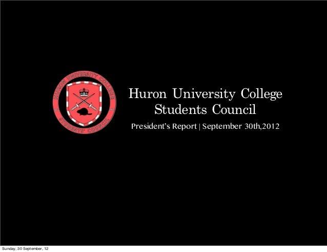 HUCSC President's (V.Prabhu) Report #4 - Sept. 30th,2012