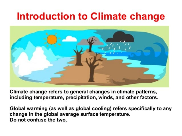 Introduction to Climate change  Climate change refers to general changes in climate patterns, including temperature, preci...