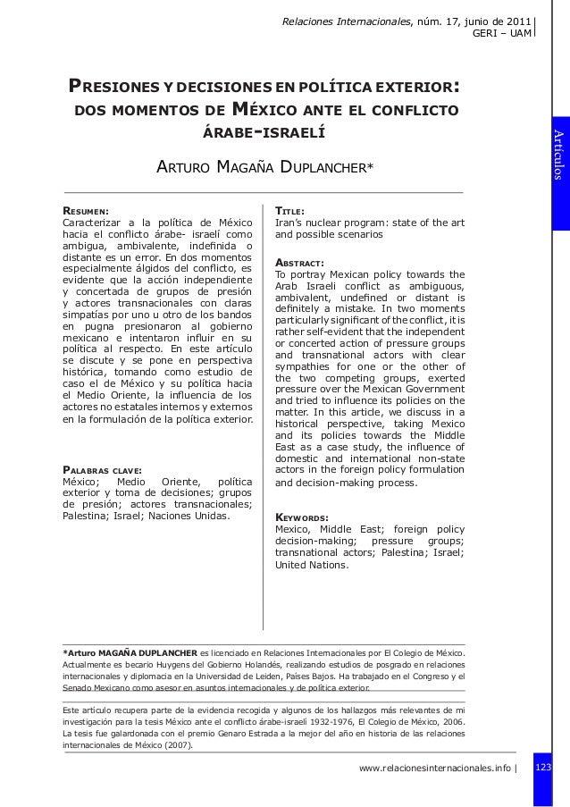 Relaciones Internacionales, núm. 17, junio de 2011 GERI – UAM    Resumen:  Caracterizar a la política de México hacia el ...