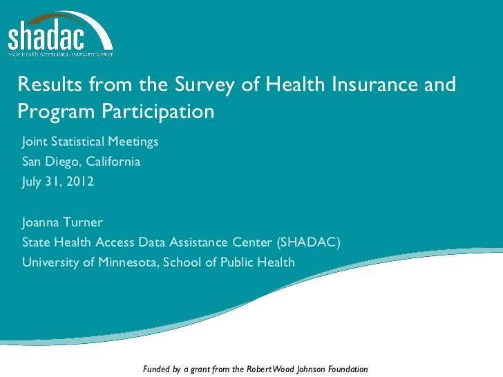 Results from the Survey of Health Insurance andProgram ParticipationJoint Statistical MeetingsSan Diego, CaliforniaJuly 31...