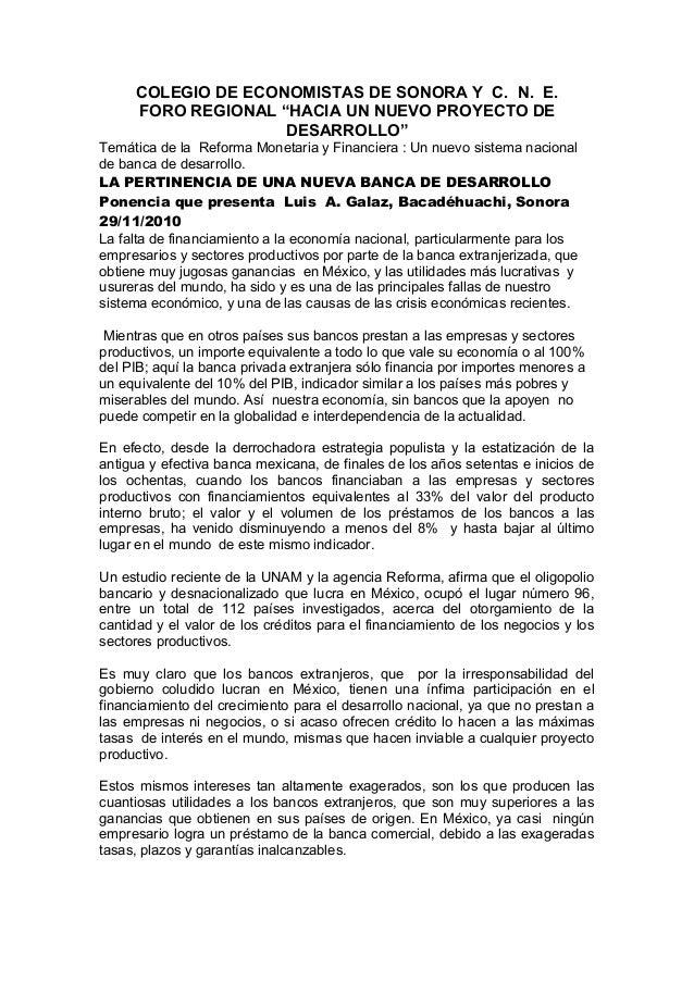 """COLEGIO DE ECONOMISTAS DE SONORA Y C. N. E. FORO REGIONAL """"HACIA UN NUEVO PROYECTO DE DESARROLLO"""" Temática de la Reforma M..."""