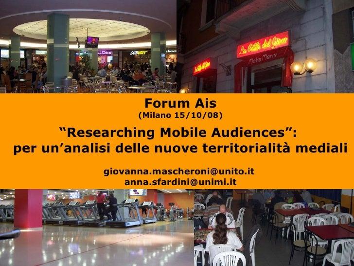Forum Giovani Ais Vi Edizione Mascheroni e Sfardini
