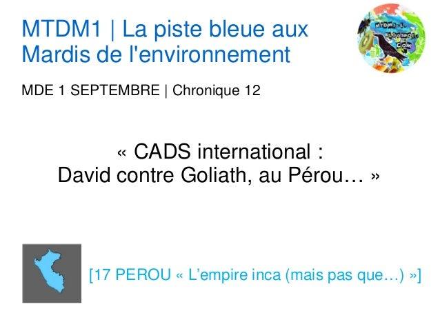 MTDM1 | La piste bleue aux Mardis de l'environnement MDE 1 SEPTEMBRE | Chronique 12 « CADS international : David contre Go...