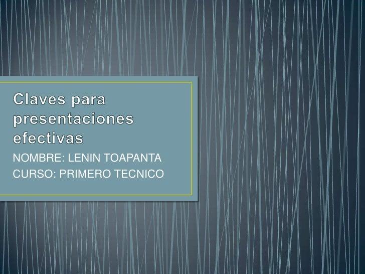 NOMBRE: LENIN TOAPANTACURSO: PRIMERO TECNICO