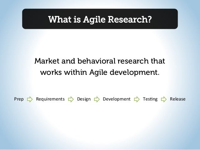 What is Agile Research?Market and behavioral research thatworks within Agile development.Prep  Requirements  Design ...