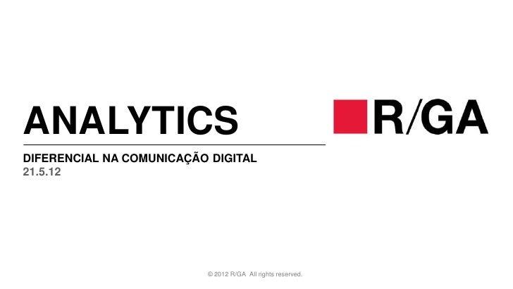 ANALYTICSDIFERENCIAL NA COMUNICAÇÃO DIGITAL21.5.12                          © 2012 R/GA All rights reserved.