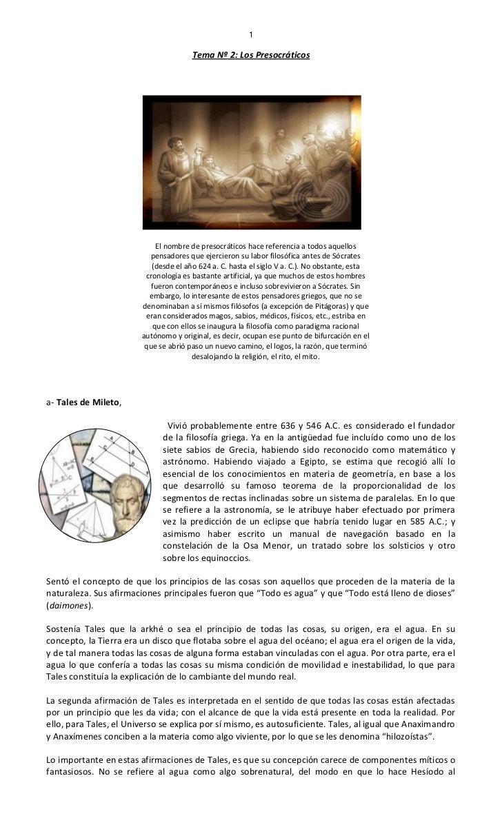 1                                       Tema Nº 2: Los Presocráticos                             El nombre de presocrático...