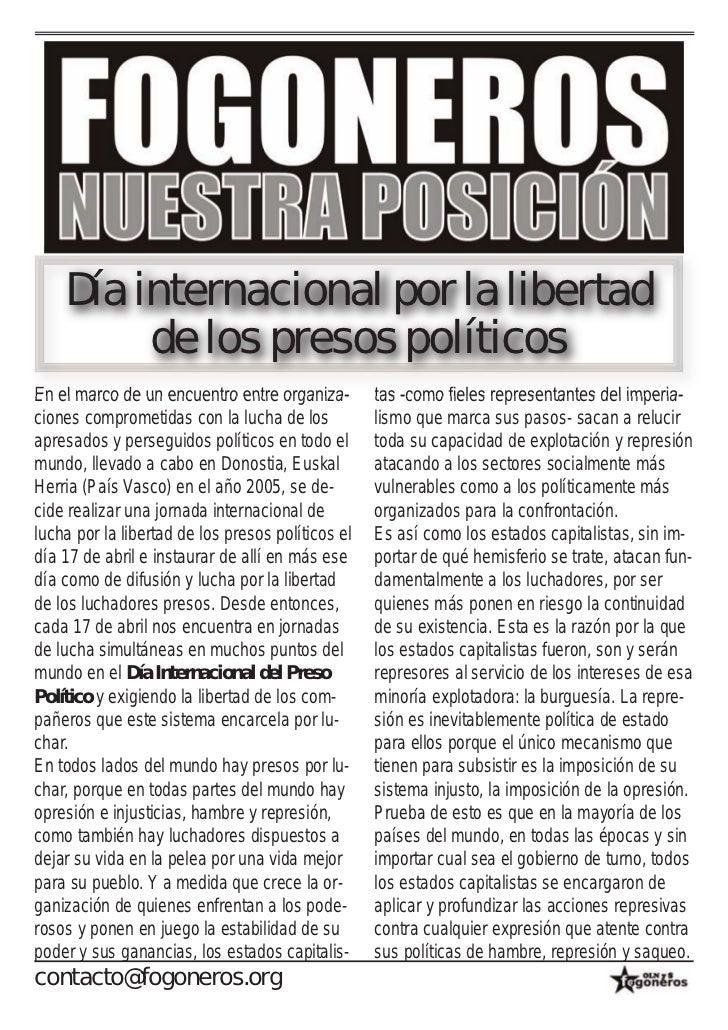 Día internacional por la libertad         de los presos políticosEn el marco de un encuentro entre organiza-        tas -c...