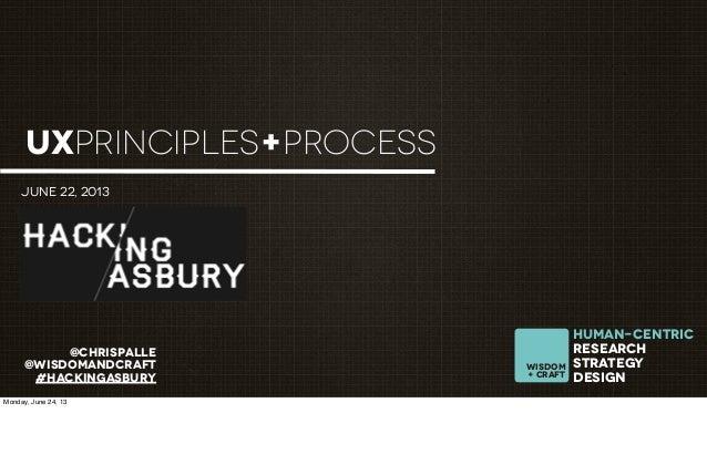 @chrispalle@wisdomandcraft#hackingasburyhuman-Centricresearchstrategydesignwisdom+ craftUXPRINCIPLES+PROCESSJune 22, 2013M...