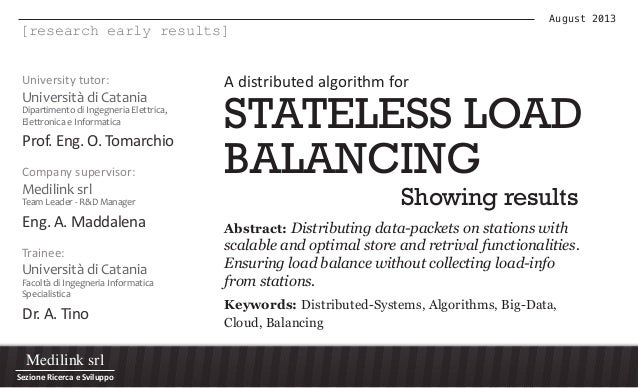 Stateless load balancing - Early results