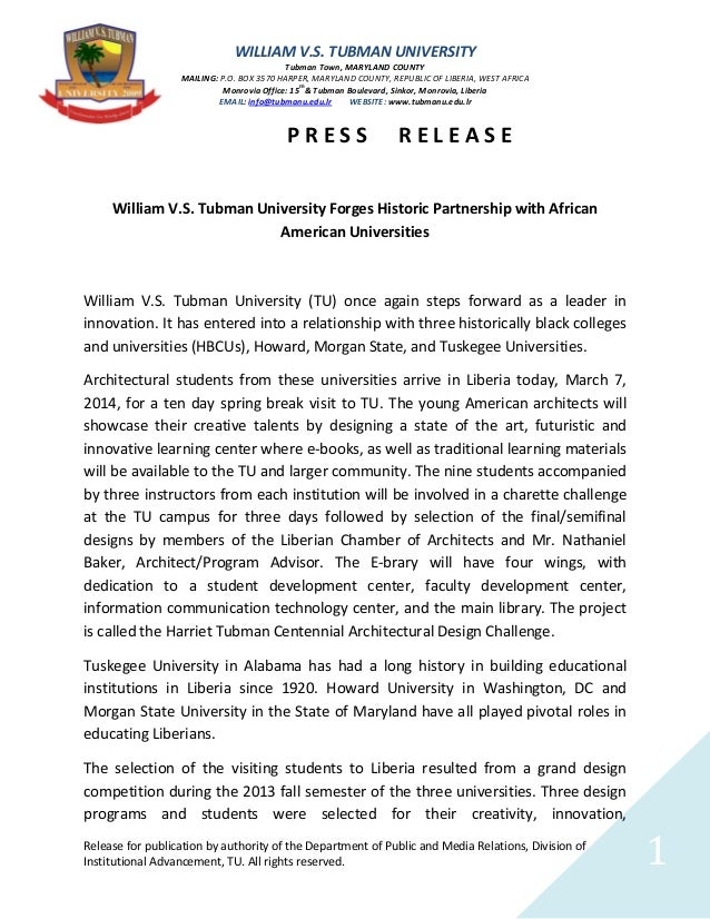 Tubman University Press Release 1 e brary and hbc us at tu
