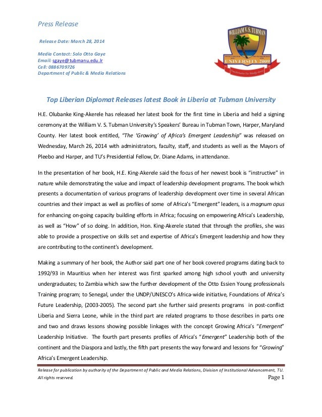 Press Release Release for publication by authority of the Department of Public and Media Relations, Division of Institutio...