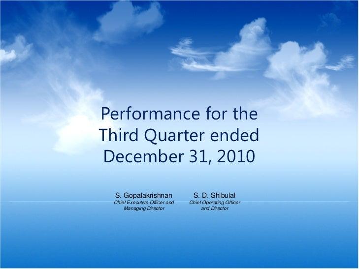 Performance for the                                      Third Quarter ended                                      December...