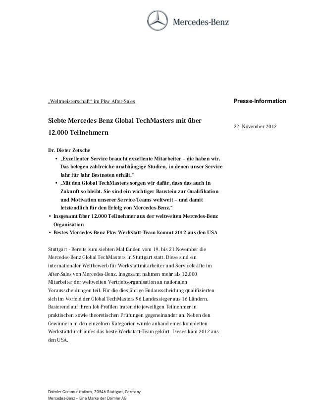 """""""Weltmeisterschaft"""" im Pkw After-Sales                                       Presse-InformationSiebte Mercedes-Benz Global..."""