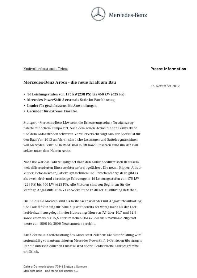 Kraftvoll, robust und effizient                                                    Presse-InformationMercedes-Benz Arocs -...