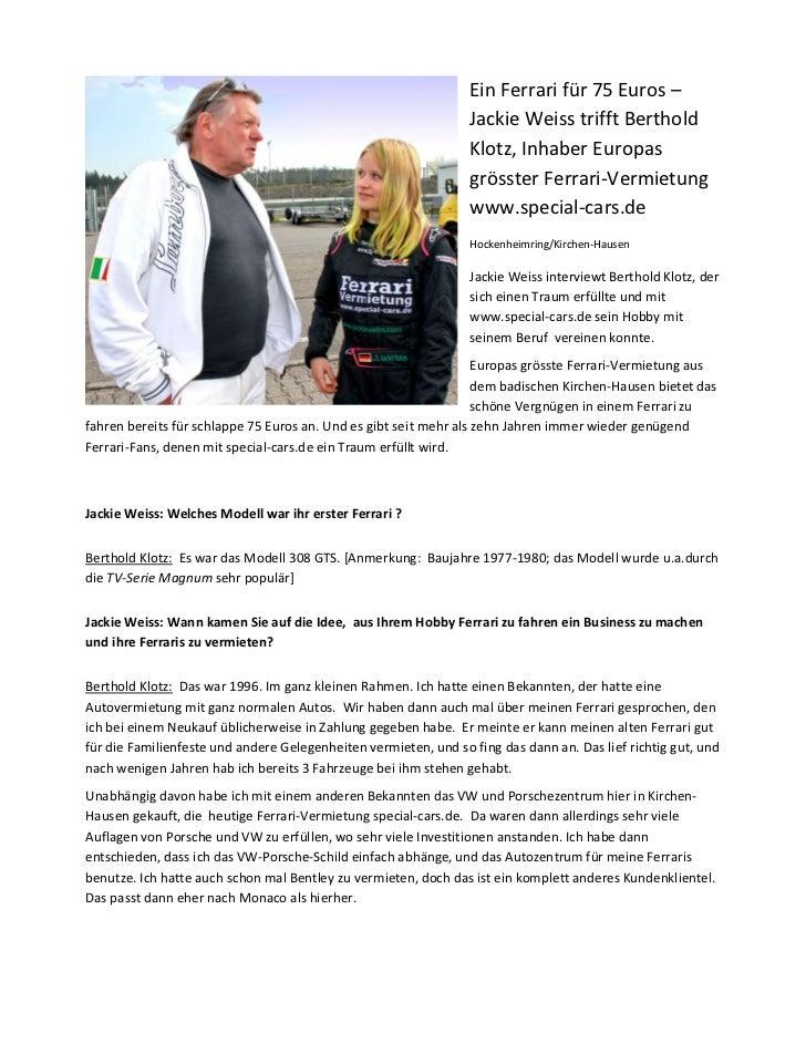 Ein Ferrari für 75 Euros –                                                                 Jackie Weiss trifft Berthold   ...