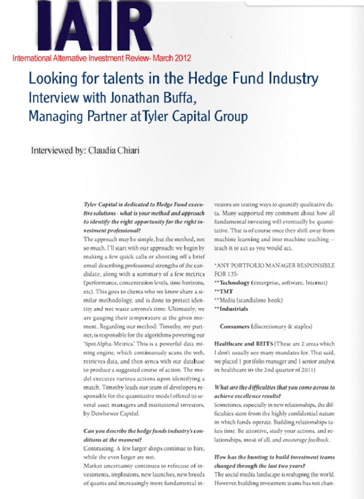 Hedge Fund Jobs: IAIR Interview with Jonathan Buffa- Looking for talents in Hedge Fund Industry