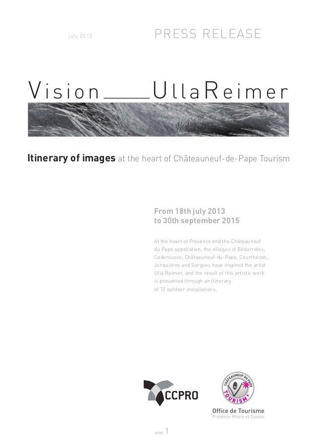 page 1 Direction Artistique : Ulla Reimer / www.ullareimer.com - Contact Presse / Chef de Projet : Charlotte Croset Direct...