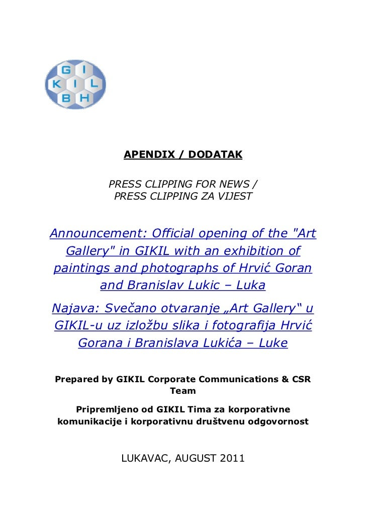 APENDIX / DODATAK           PRESS CLIPPING FOR NEWS /            PRESS CLIPPING ZA VIJESTAnnouncement: Official opening of...