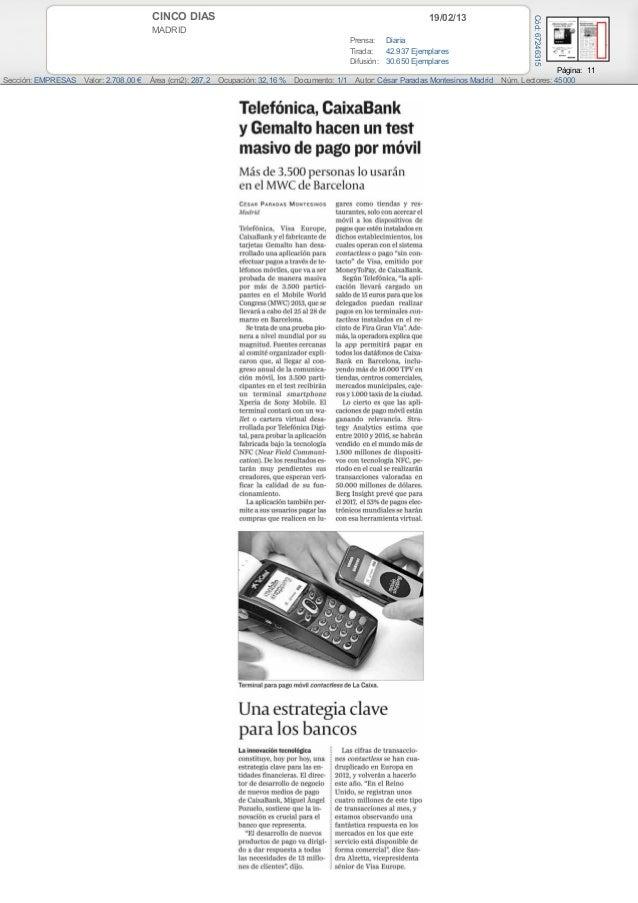 Press coverage telefonica NFC. MWC 2013 - Servicios Financieros